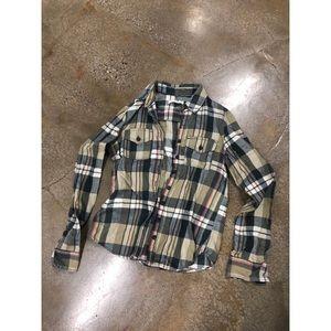 Abercrombie Ruehl green plaid button down shirt